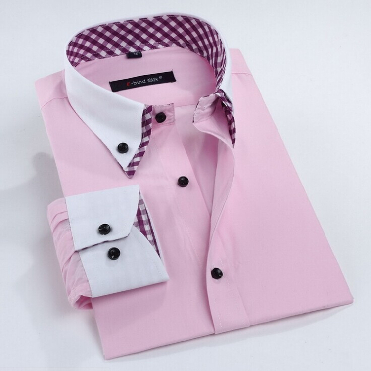 Free Shipping Man Spring 2015 New Arrival Mens Shirts Double Collar Long Sleeve Business Casual Slim