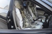 Free Shipping 2pcs/lot Genuine Sheepskin Long Wool Car Seat Cushion Real Skins Auto Seat Cushion(China (Mainland))