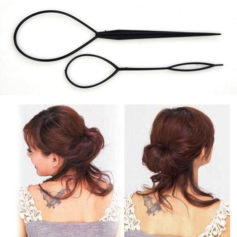 2Pcs Black Plastic Magic Topsy Tail Hair Braid Ponytail Styling Maker Clip Tool New(China (Mainland))