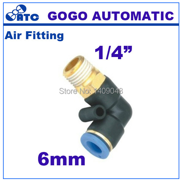 GOGO L type 6mm 1/4 inch threaded elbow pu hose connector 90 degree PL