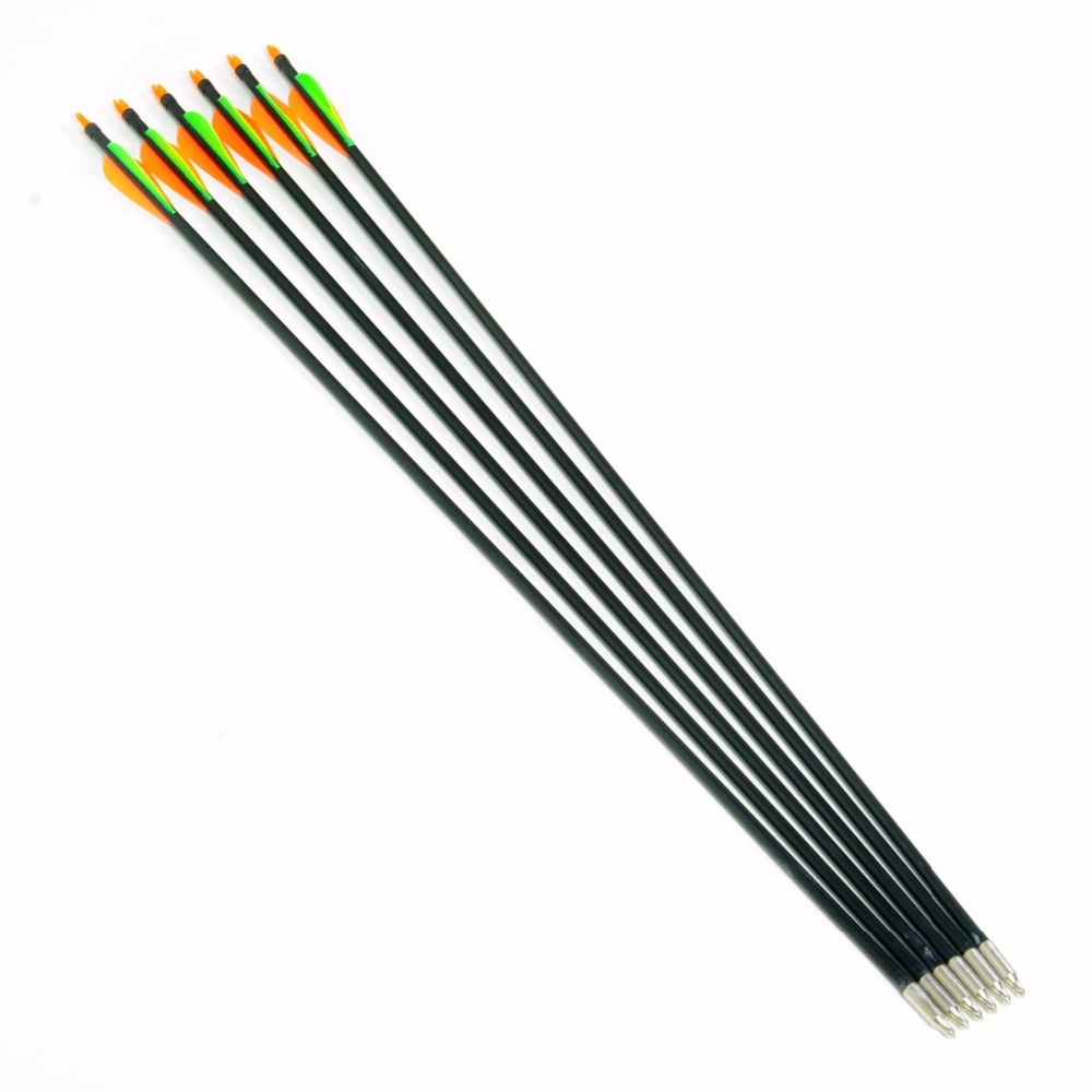 Free Shipping 6pcs pack 30 Fiberglass Arrow Plastic Vanes Spine500 Steel Point For Hunting Bow Archery