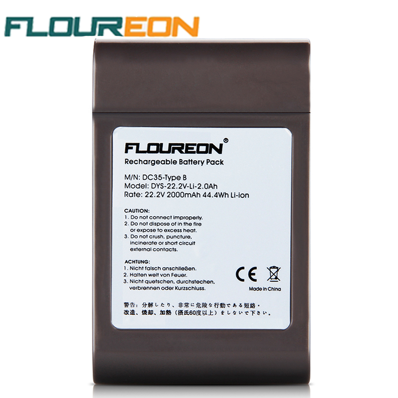 Floureon 22.2V 2000mAh 44.4Wh Replacement Vacuum Cleaner Battery Rechargeable Battery Pack for Dyson DC35 Type B 6-Cell New(China (Mainland))