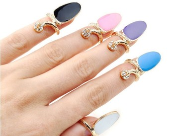 10X New Wholesale Punk Finger nail Rings Jewelry Lots Crystal Enamel Rings Nail finger rings Free Shipping
