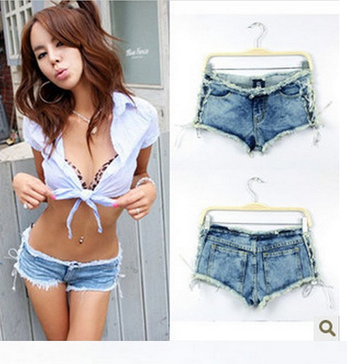 2014 Wholesale -sexy Spice side bind low waist jeans shorts club hot Free shipping(China (Mainland))