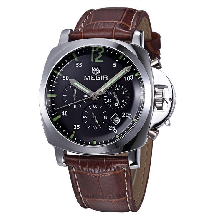Megir Atmospheric Brand Men Watches Multifunctional Business Men See Calendar Chronograph Watch High Quality, Free Shipping(China (Mainland))