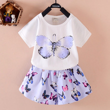 New Kid Cothes Children Girl's Dress Suit Cartoon Casual Short For Kids Clothing Sets Princess Girls Clothes