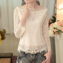 Buy 2017 New Women Casual Basic Autumn Spring Lace Chiffon Blouse blusas Solid Hollow Top Shirt OL Full sleeves loose Plus Size for $13.23 in AliExpress store