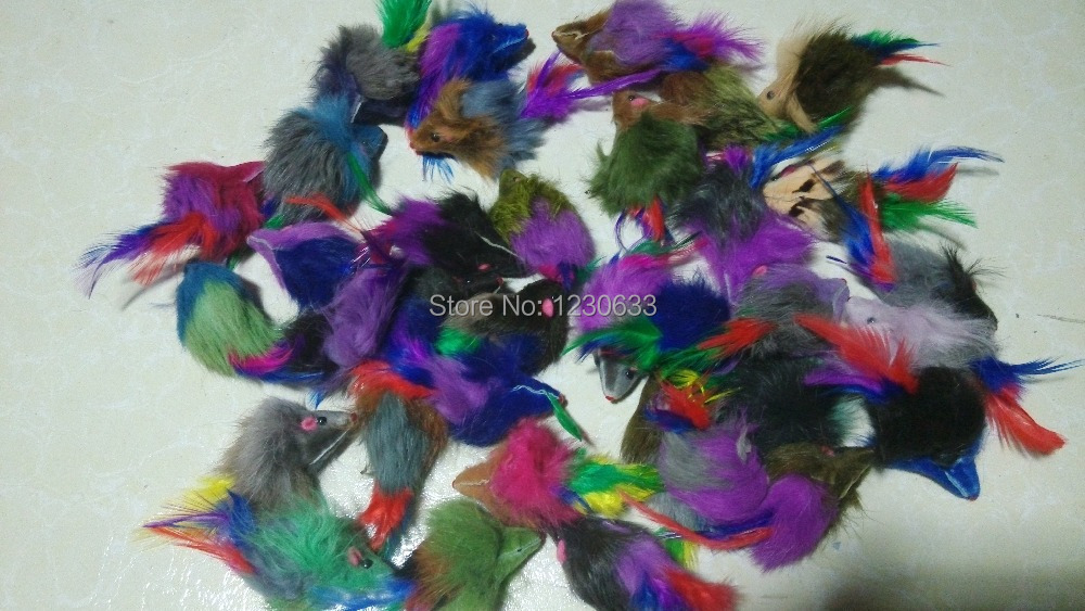 3cm Colorful color pet toys real fur cat Long-haired Tail feathers mice mouse(China (Mainland))