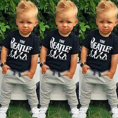 toddler kids 2PCS Kids Baby Boy Clothes T-Shirt + Trousers Sports Pants Outfit 2-6Y Children set spring casual 2016 new(China (Mainland))
