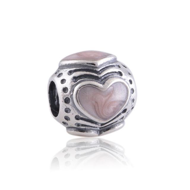 Fit пандора браслет 925 серебряные ювелирные изделия бусины эмаль в форме сердца шаблон поделки мода ювелирных изделий оптовая продажа