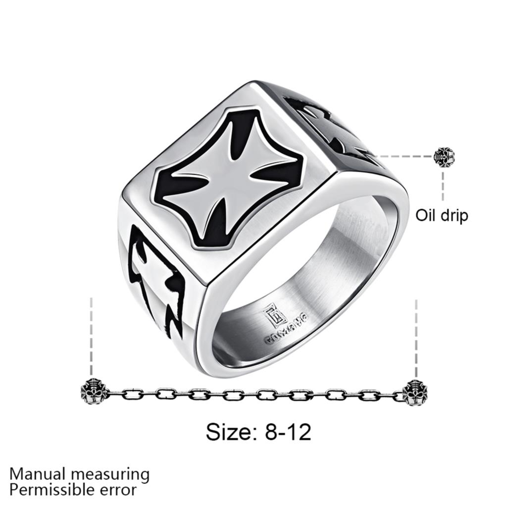 Men's Stainless Steel Jewelry Silver Plated with Cross Pattern Biker Motorcycle Ring Size 8-12(China (Mainland))