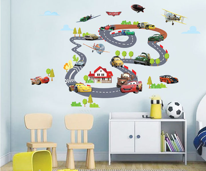 Racing Car Plane Wall Sticker Waterproof Wallsticker Home Decorations Stikers For Children Walls Decoration(China (Mainland))