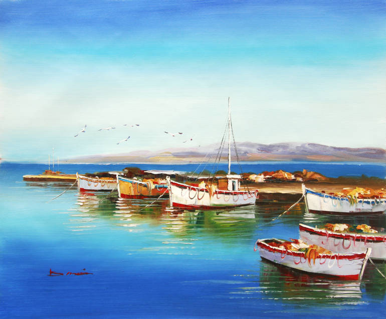 Summer Sunny Day Boats on Aegean Sea Art Reproduction Oil Painting Canvas Prints Home Goods Wall Art Decoration(China (Mainland))