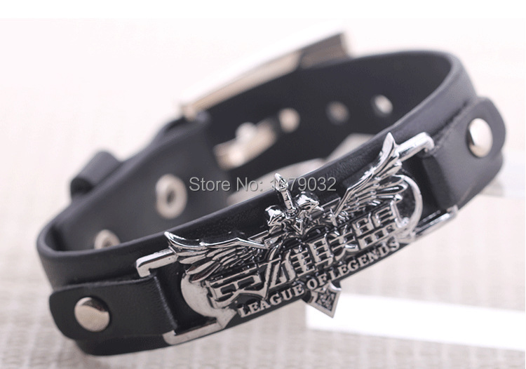 New 2015,Hot Selling !Online games through the firewire CF with leather bracelet punk bangle(China (Mainland))
