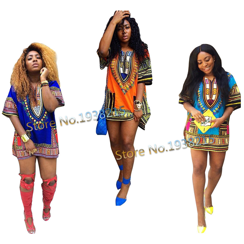 Wholesale Free Size 2015 New Fashion Design Traditional African Clothing Print 100% Cotton Dashiki T-shirt For Women(China (Mainland))