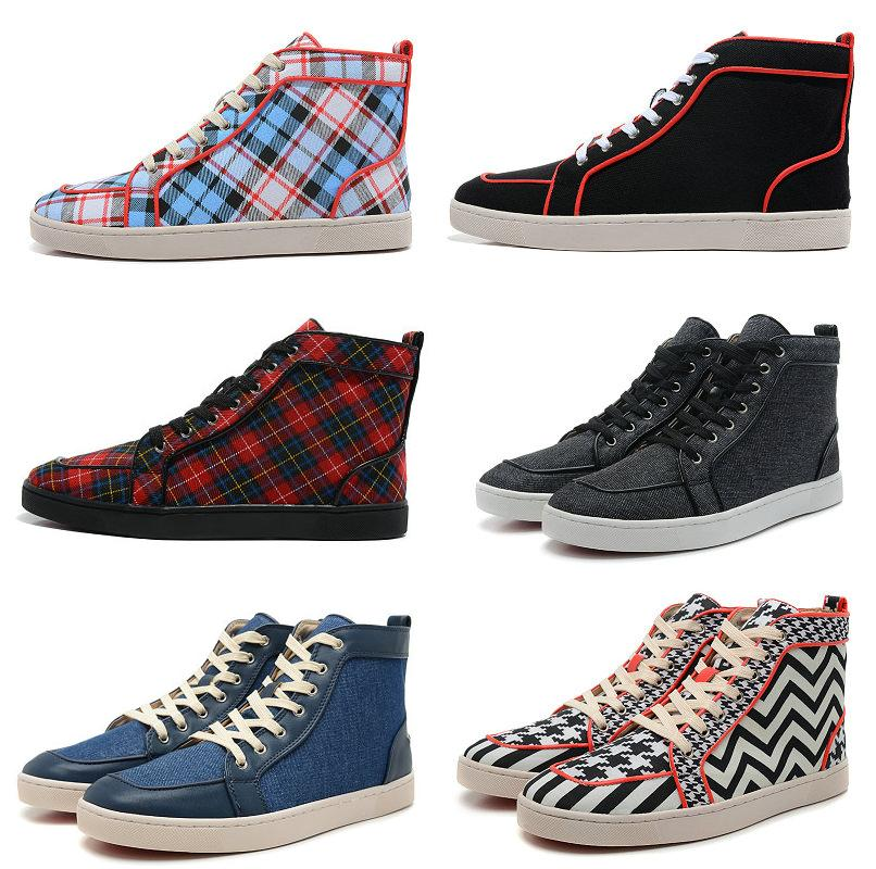 Blue Black Red Printing Plaid Canvas Men Red Bottom Shoes gold ...