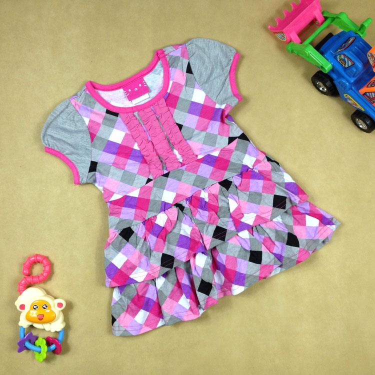 Hellokitty summer cotton spliced girls dress short sleeve Plaid skirt child - rebecca lin's store