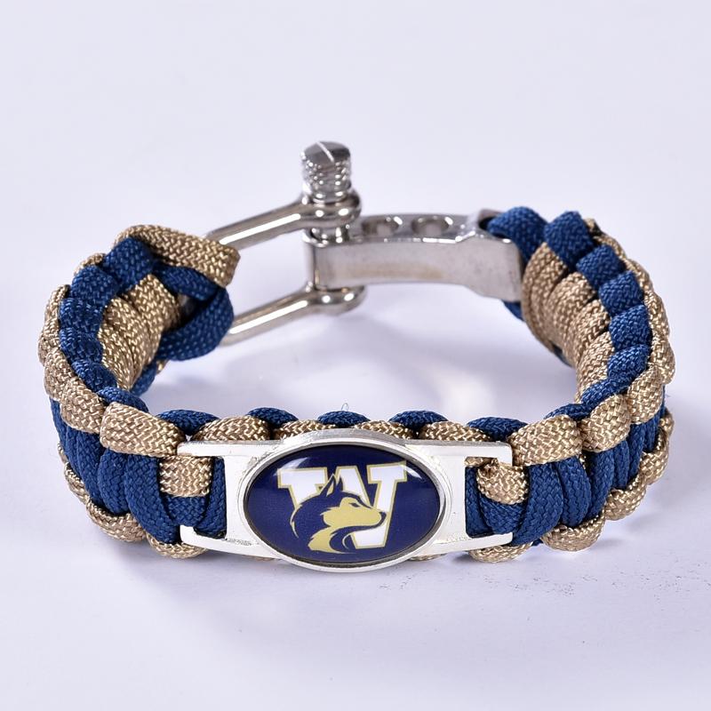 Washington Huskies Custom Paracord Bracelet NCAA College Football Charm Bracelet Survival Bracelet , Drop Shipping! 6Pcs/lot!(China (Mainland))
