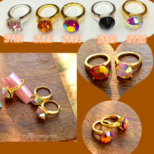 10pcs Rainbow Rhinestone Gold Nail ART Ring Alloy nail design alloy nail art decorations 3d charms for nails decoration ST12(China (Mainland))