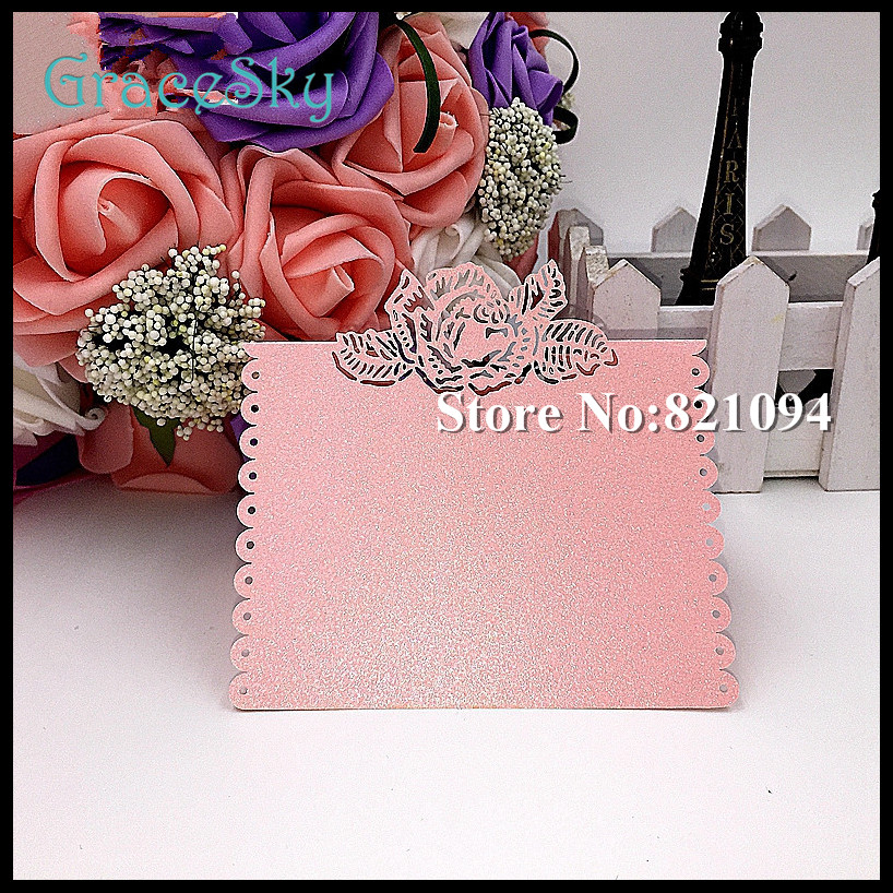 50*Free Shipping Laser Cut Rose Flower Paper Table Placeholder Seat Name card for Wedding Valentine Party Invitation Decorations(China (Mainland))