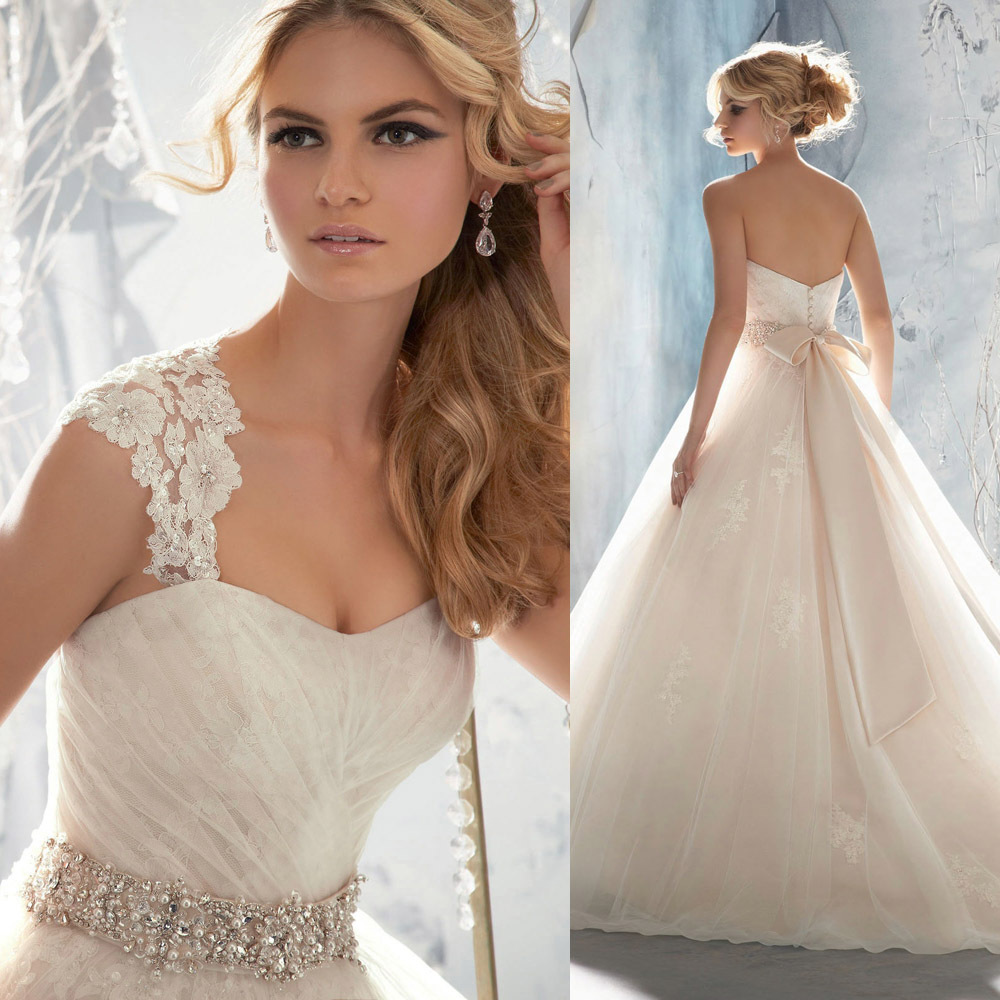 2015 hot sell blush cap sleeve lace ball gown wedding for Lace blush wedding dress