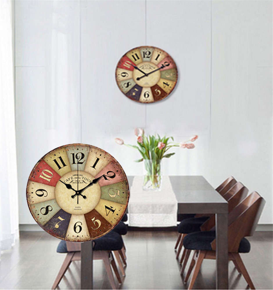 Vintage 14 inch Vintage France Paris Colourful French Country Tuscan Style Silent Wood Wall Clock(China (Mainland))