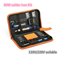 Free shipping Electric Soldering Iron Kit with 60w Adjustable Temperature Soldering Iron Solder Wire Desoldering Pum