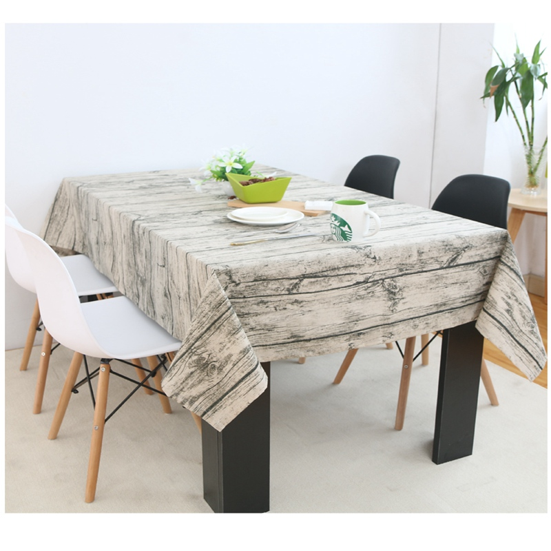 Vintage Wooden Grain Linen Cotton Table Cloth European Style Tablecloth Dustproof Table Cover Coffee Table Decoration(China (Mainland))