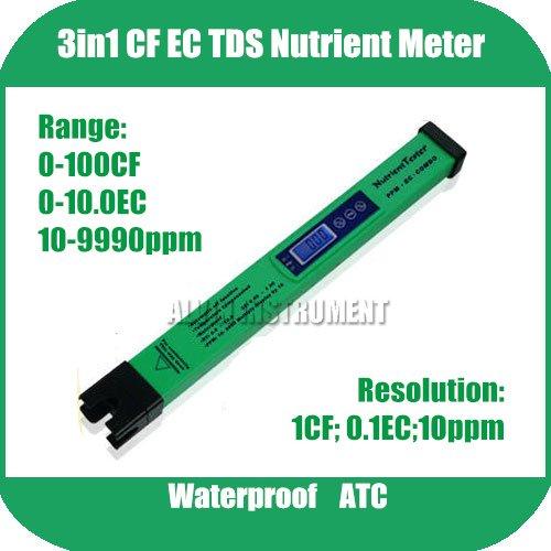 Фотография Free Shipping Soilless Culture Nutrient Solution Test Pen type 3in1 CF EC TDS Meter Tester Range: 0-100CF; 0-10.0EC;10-9990ppm