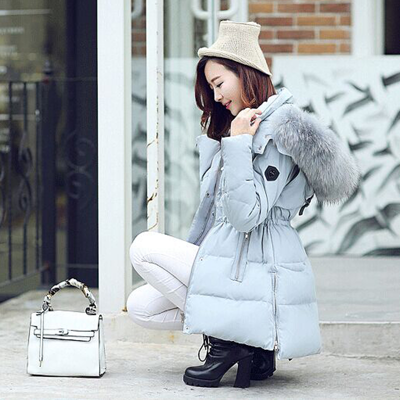 Winter Jacket Women Cotton Coat Down Parka Large Raccon Fur Collar Hooded Coat Outwear 2015 Women