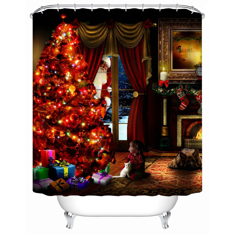 online get cheap christmas shower curtains alibaba group. Black Bedroom Furniture Sets. Home Design Ideas