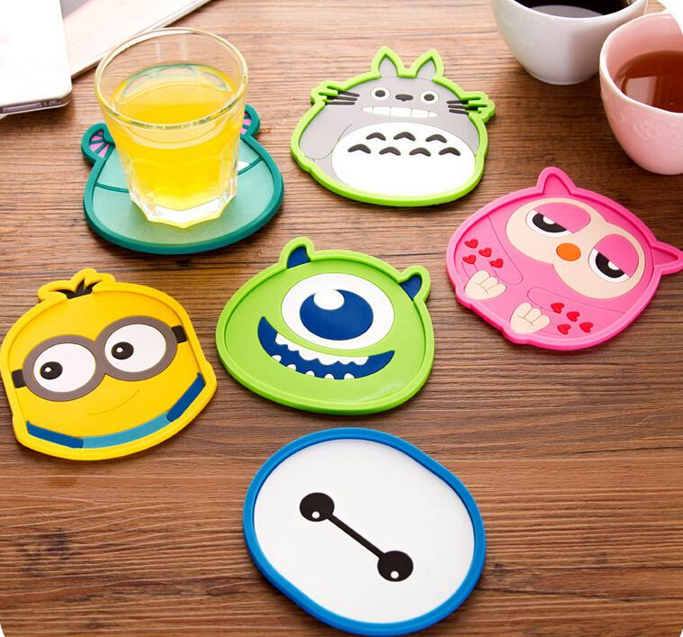2000pcs New Design Round Silicone Coasters Cute Cartoon