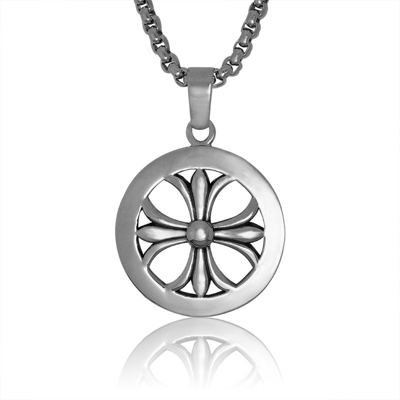 2015 high quality stainless steel round fleur de lis pendant for men women French national flower necklace pendant jewelry(China (Mainland))