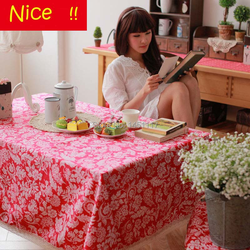 1 piece/lot zakka style upscale cotton linen flower pattern party tablecloths 3 colors table cover for party(China (Mainland))