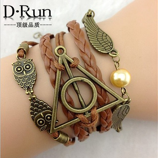 3pcs Harry Potter and the Deathly Hallows wings hand woven leather rope bracelet aliexpress goods(China (Mainland))