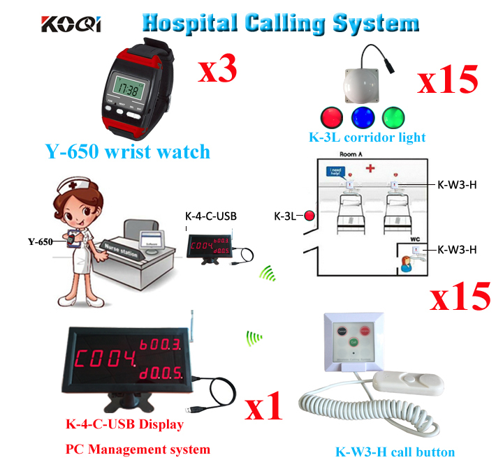 Wireless Bell Calling System For Hospital House Display 3 Wrist Watch And 15pcs Pull Cord 15 Corridor Light To Call For Service(China (Mainland))