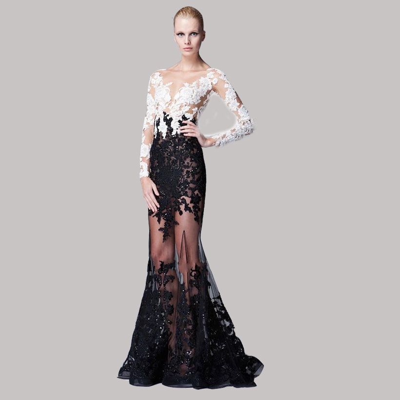 2015 Sexy Through Tulle V-neck Full Sleeves Mermaid Celebrity Dresses Red Carpet Dresses With White And Black Appliques(China (Mainland))