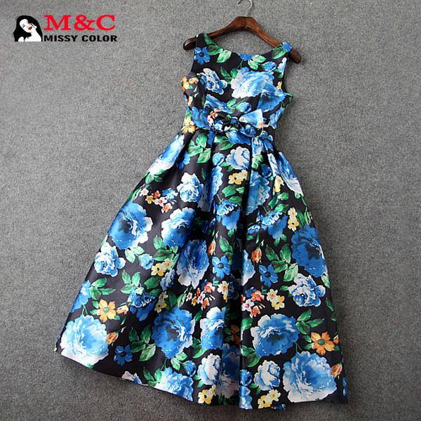 New Spring Summer 2015 Women Dress Europe High-end Models Elegant Slim Female Print Sleeveless Midi Dresses Large Size ZF004Одежда и ак�е��уары<br><br><br>Aliexpress
