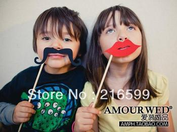 Hot Sale New 49pcs Funny Mask Wedding Party Photography Photo Booth Prop MUSTACHE ON A STICK Free Shipping