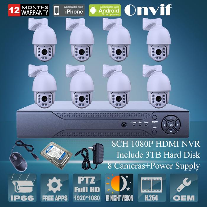 Onvfi H.264 3TB HDD 8CH NVR Network Surveillance System PTZ 1080P 2.0Megapiexl HD Zoom Varifocal 4.7-94MM Lens IR CCTV IP Camera(China (Mainland))