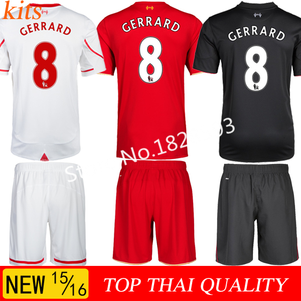 NEW arrival 15/16 Liverpools jersey kit Free shipping Football jersey camisetas soccer set 8#GERRARD STERLING Liverpooles kit(China (Mainland))