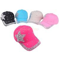 Розничные продажи Мода детей бейсбол шапки детские мальчиков девушка горный хрусталь звезды snapback шляпы 5 цветов бейсбол шляпа b2 # 41