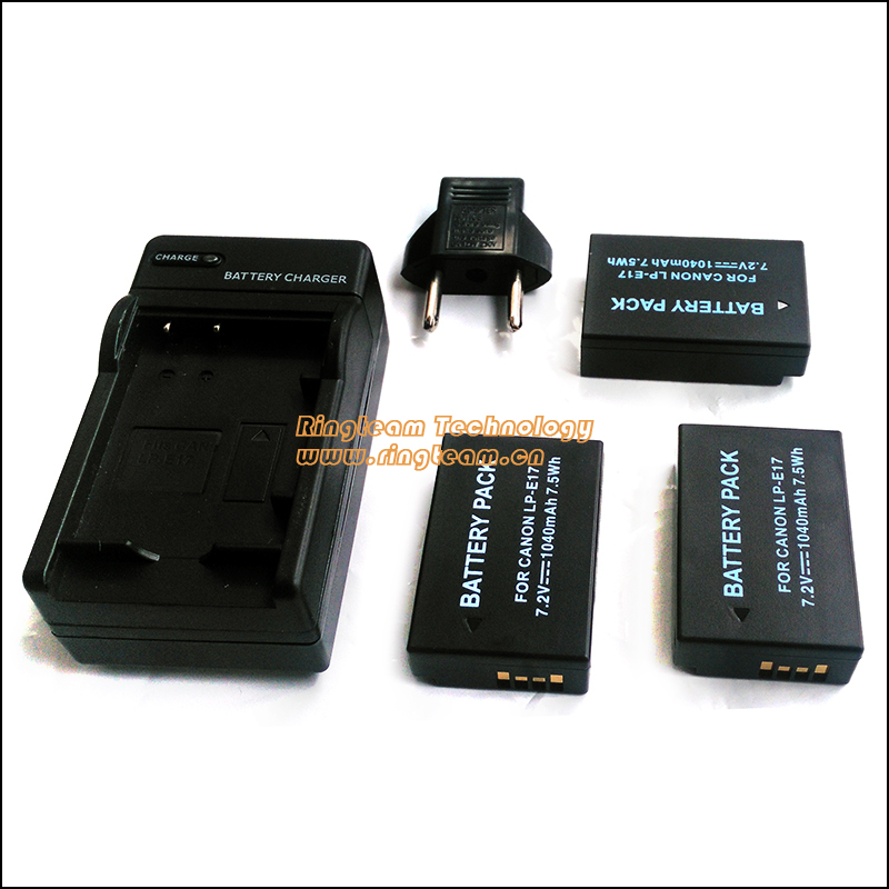 3-In-1 LPE17 LP-E17 Battery 2x &amp; Travel Charger 1x for Canon EOS Rebel T6i 750D T6s 760D M3 T6s 8000D Kiss X8i Cameras<br><br>Aliexpress