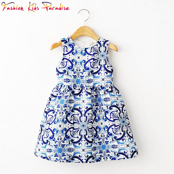 Girls Dress 2015 Brand Fashion Kids Dresses for Girls Clothes Blue Majolica Floral  Girls Party Dress Kids Princess Costume 2-8Y(China (Mainland))