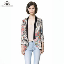 2015 spring autumn wholesale retro vintage Oriental birds flowers floral print long sleeve long blazer jacket real photo(China (Mainland))