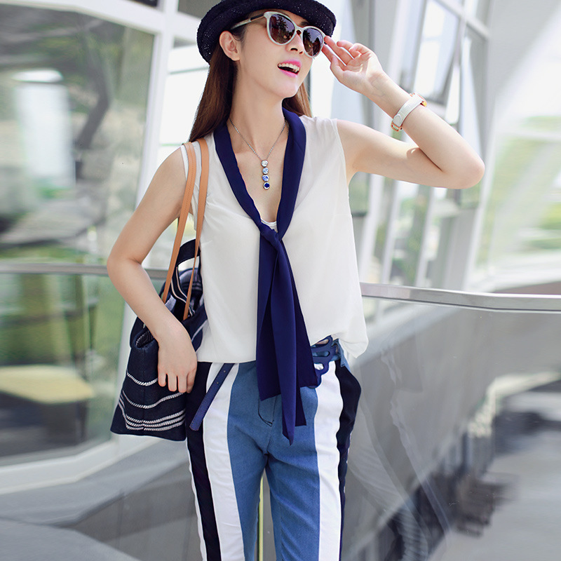 Noblest Women Spaghetti Strap Chiffon Rayon Shirts and Jeans Pants summer womens sets,Silm and wild womens sets for holidayОдежда и ак�е��уары<br><br><br>Aliexpress