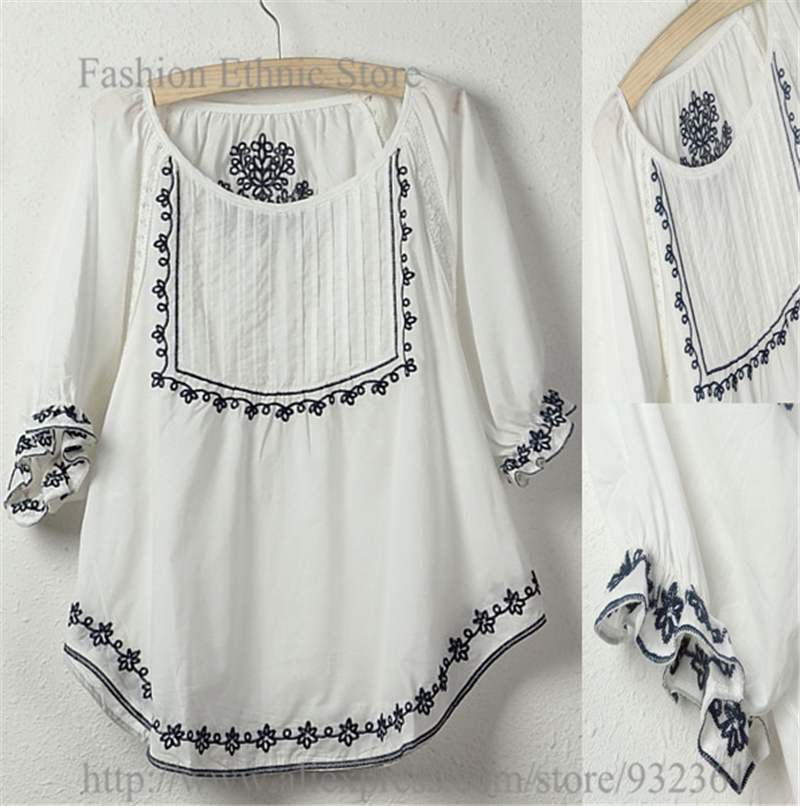 Vintage mexico floral embroidery white t shirt women tops for White floral shirt womens