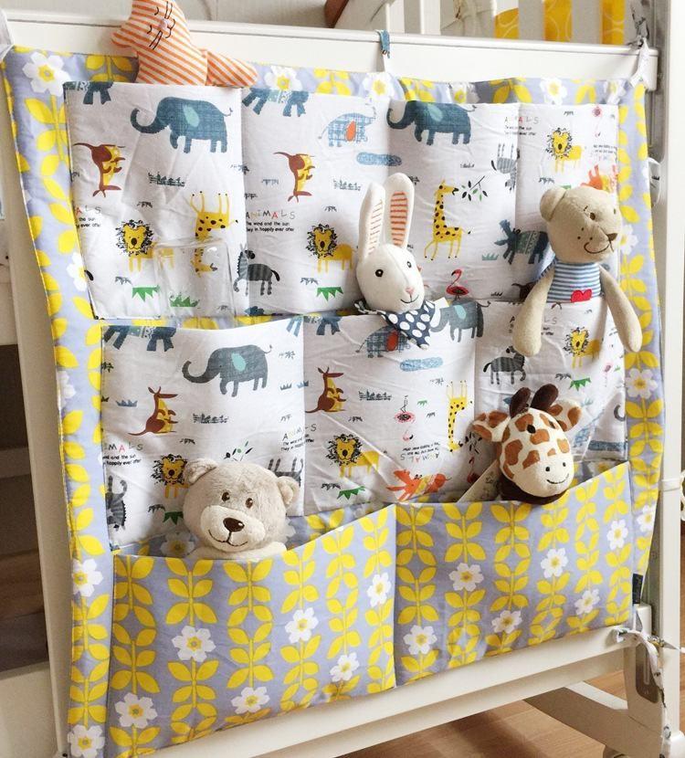 Детская кроватка кровать висит хранения 100% хлопок кроватки организатор 60 * 55 см игрушки пеленки карман для кроватки постельного белья ER425