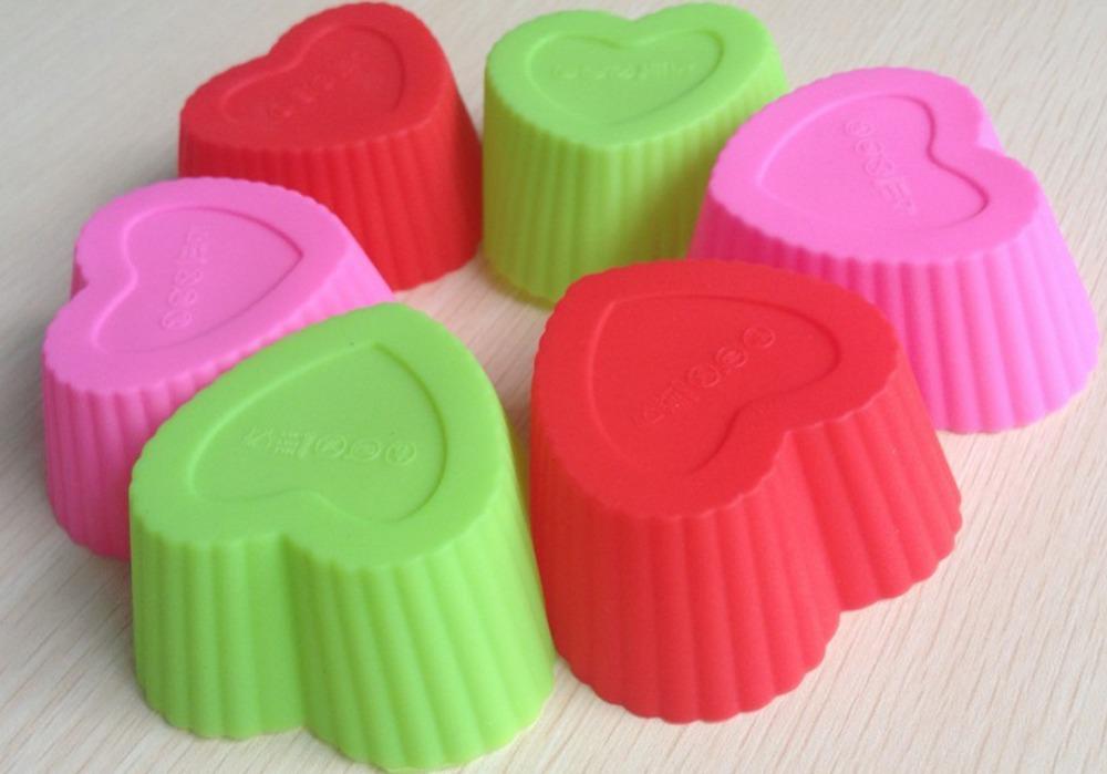 12PCS Heart Shape Muffin Sweet Candy Jelly Fondant Cake Chocolate Mold Silicone Tool Baking Pan B069(China (Mainland))