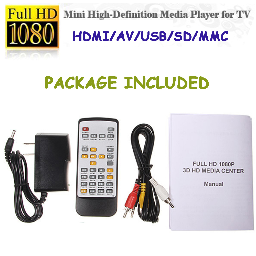 MINI Media Player Full HD HDMI 1080p Multi Silver Media Player with Adaptor with HDMI/AV/USB/SD/MMC(China (Mainland))